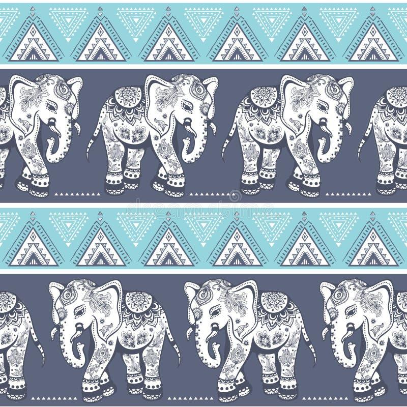 Sömlös etnisk elefant stock illustrationer