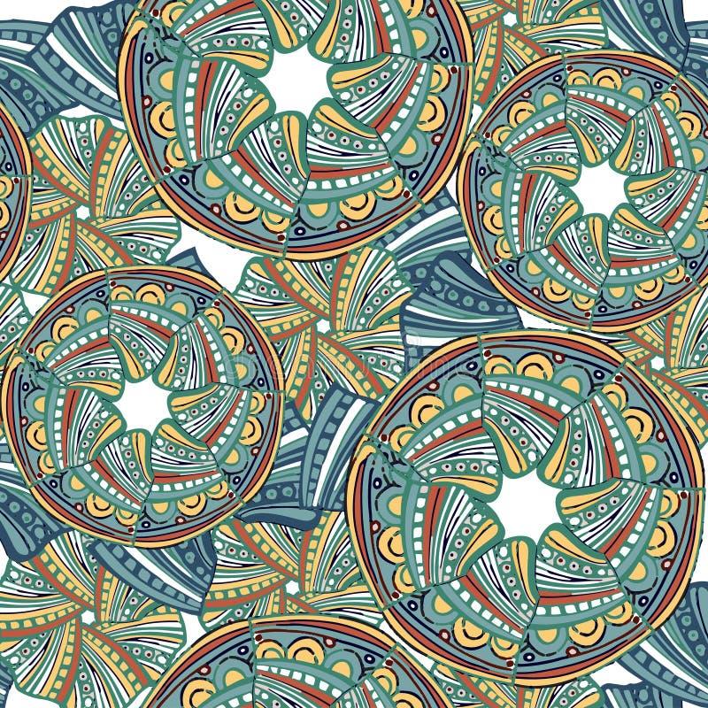 Sömlös etnisk modell för abstrakt vektor i gräsplan och orange färg Dekorativ prydnadbakgrund för tyg, textil som slår in pape vektor illustrationer