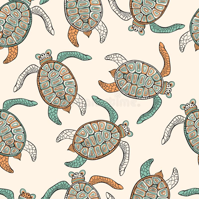 Sömlös etnisk modell för vektor med sköldpaddor royaltyfri illustrationer