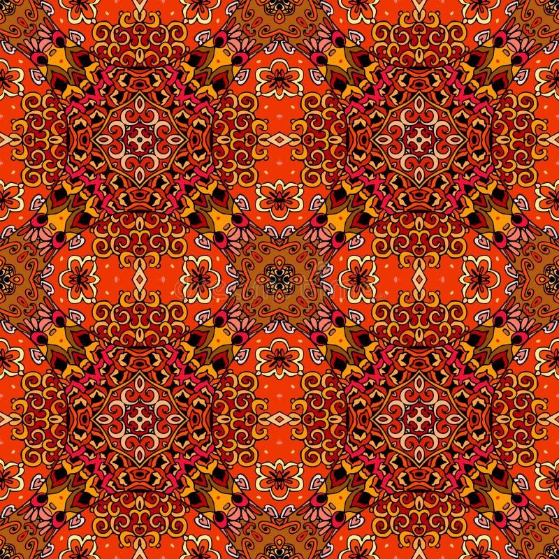 Sömlös etnisk modell i varma signaler med röda blommor på abstrakt geometrisk bakgrund stock illustrationer