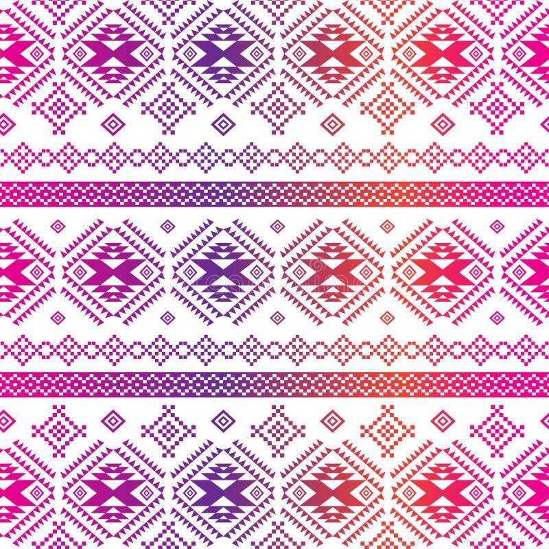 Sömlös etnisk modellbakgrund med den geometriska aztecen royaltyfri illustrationer