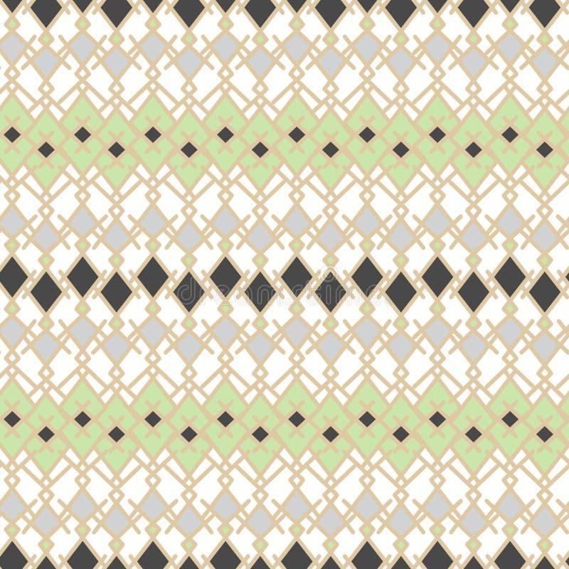 Sömlös etnisk stam- randig modellljusbakgrund stock illustrationer