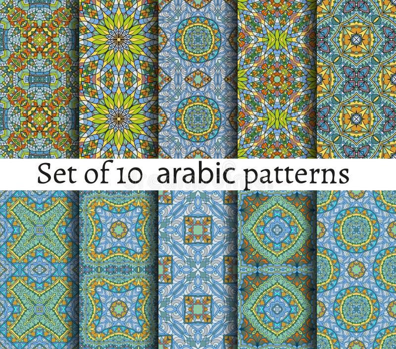 Sömlös etnisk textur med den geometriska modellen också vektor för coreldrawillustration stock illustrationer