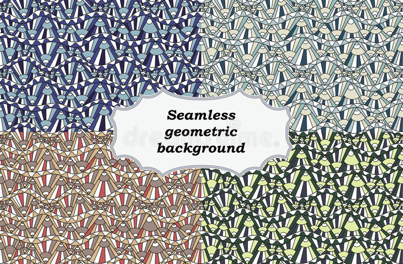 Sömlös etnisk texturuppsättning av bakgrunder geometrisk modell också vektor för coreldrawillustration royaltyfri illustrationer