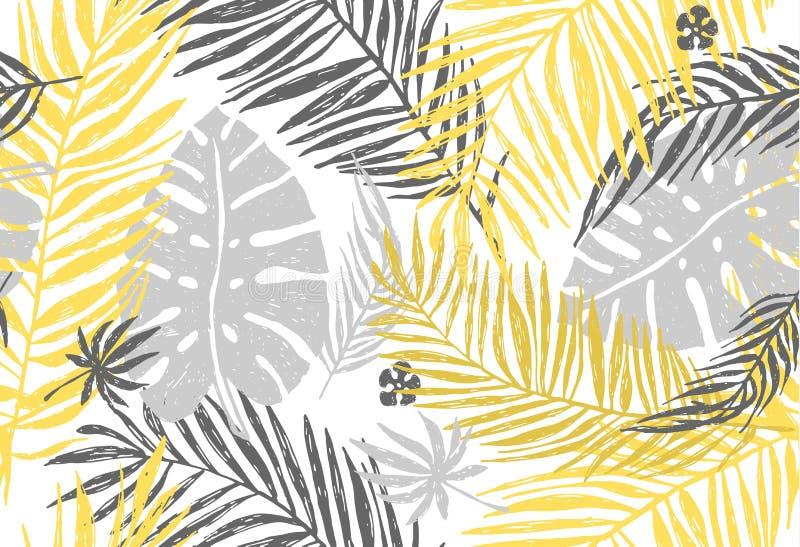 Sömlös exotisk modell med gulinggrå färgpalmblad på vit bakgrund Illustration för vektorhandattraktion vektor illustrationer
