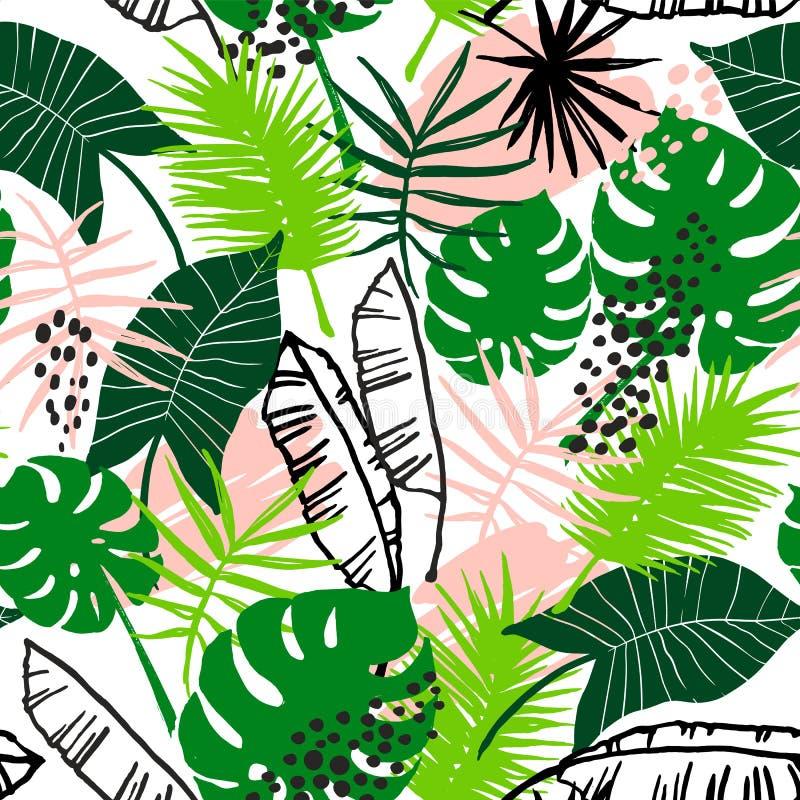 Sömlös exotisk modell med tropiska växter royaltyfri illustrationer
