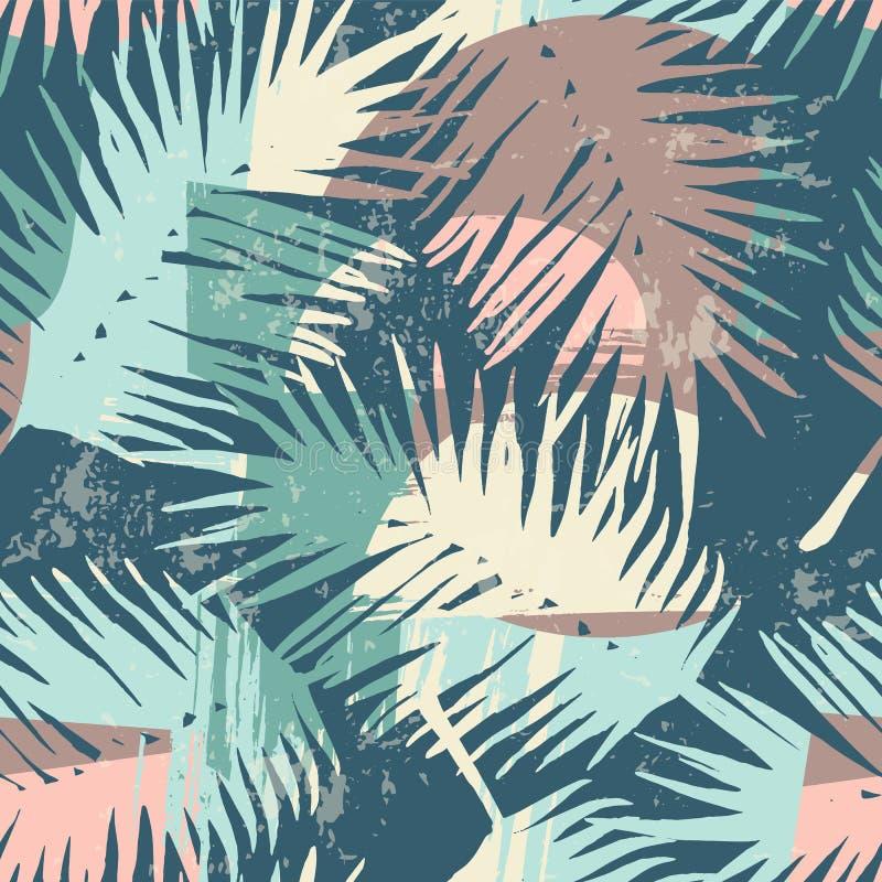 Sömlös exotisk modell med tropiska växter och konstnärlig bakgrund stock illustrationer