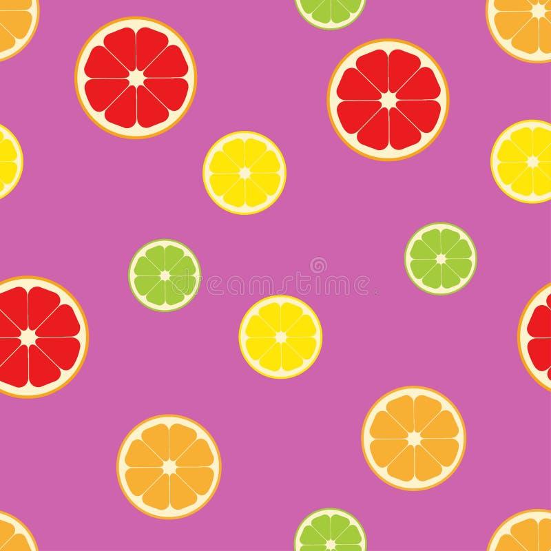 Sömlös färg för citrusfruktskivamodell vektor illustrationer