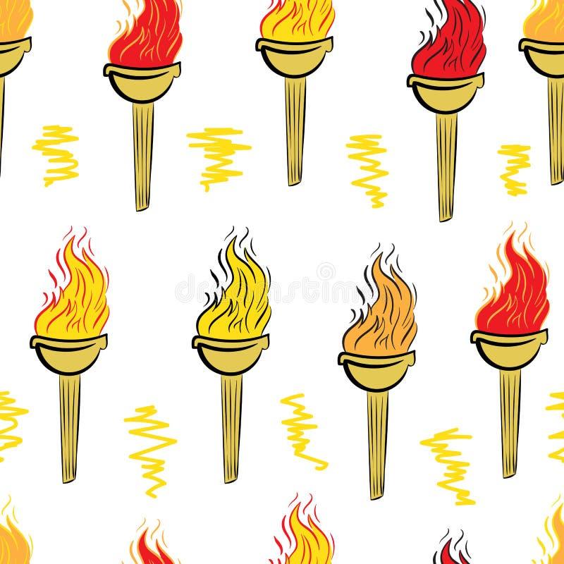 Sömlös färgfackla stock illustrationer