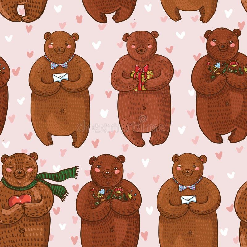 Sömlös färgmodell med tecknad filmbjörnar med blommor, gåva, hjärta, bokstav på rosa romantisk bakgrund stock illustrationer