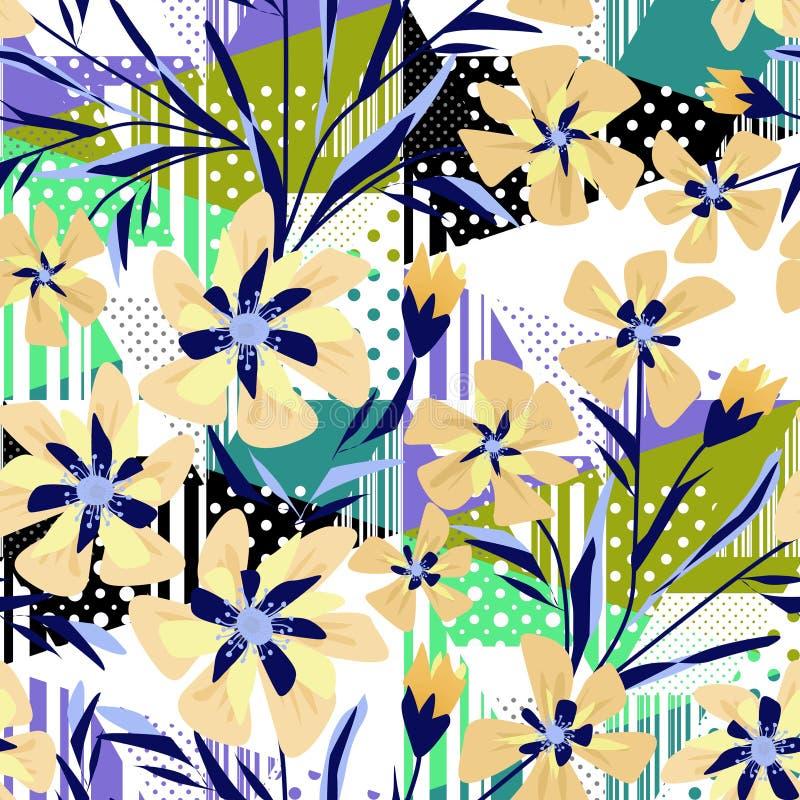 Sömlös färgrik abstrakt blom- mönstrad bakgrund med band och prickar vektor illustrationer