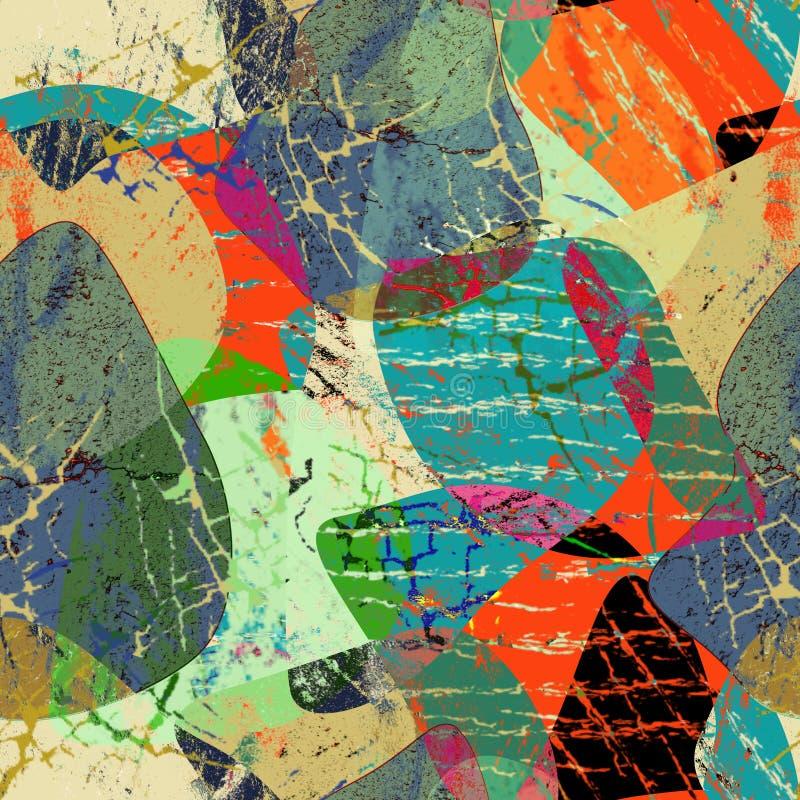 Sömlös färgrik abstrakt grungemodell vektor illustrationer
