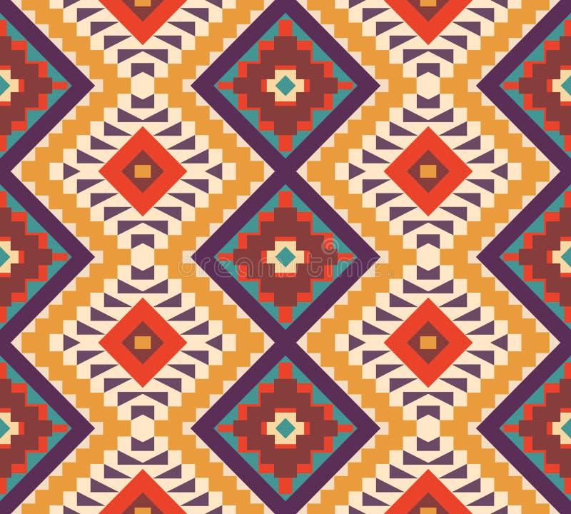 Sömlös färgrik aztec modell stock illustrationer