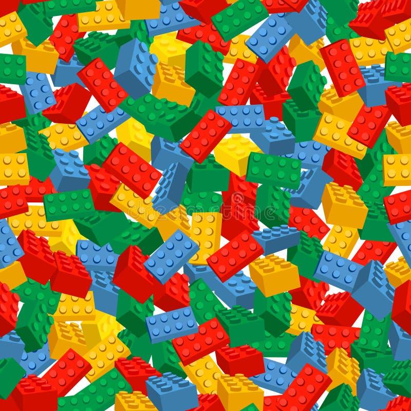 Sömlös färgrik bakgrund som göras av Lego stycken stock illustrationer