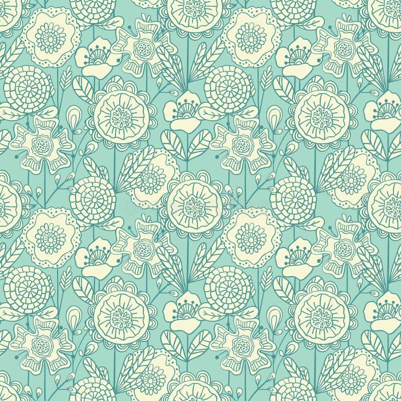 Sömlös färgrik blom- bakgrund för vektor Hand dragit klotter fl vektor illustrationer