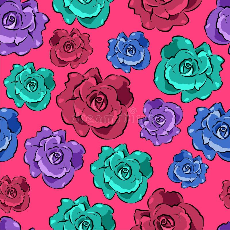 Sömlös färgrik blom- modell royaltyfri illustrationer