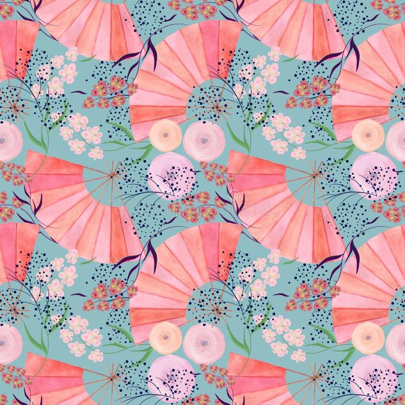 Sömlös färgrik blom- modellbakgrund i japansk stil royaltyfri illustrationer