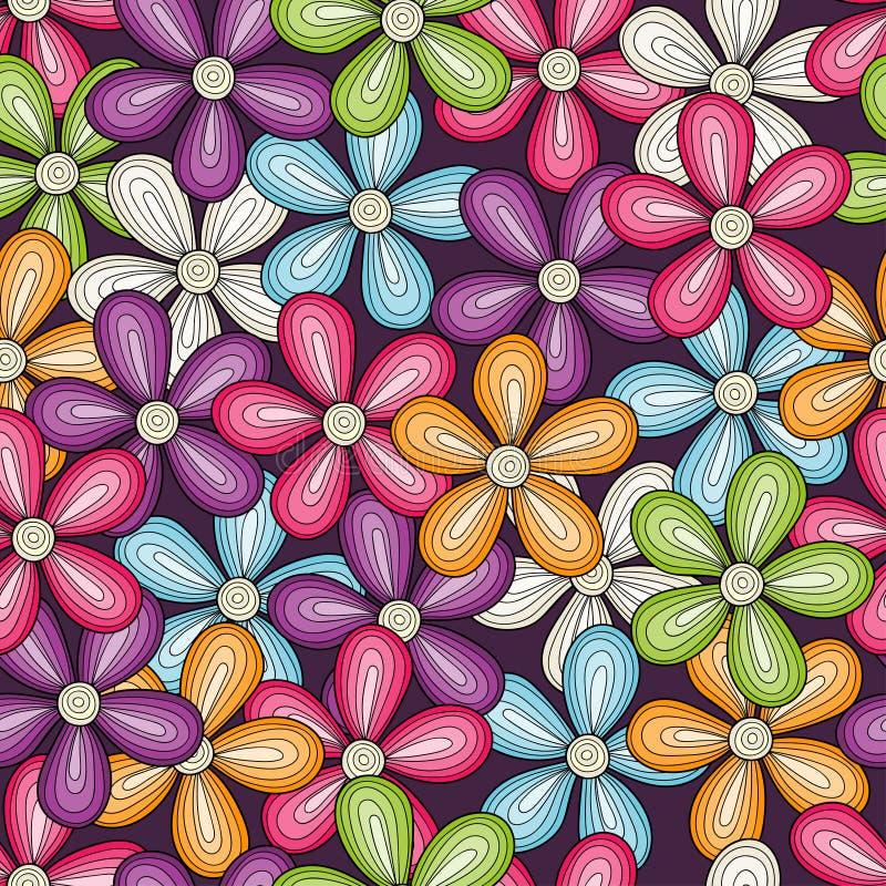 Sömlös färgrik blommamodell Ljus blom- bakgrund för vektor vektor illustrationer