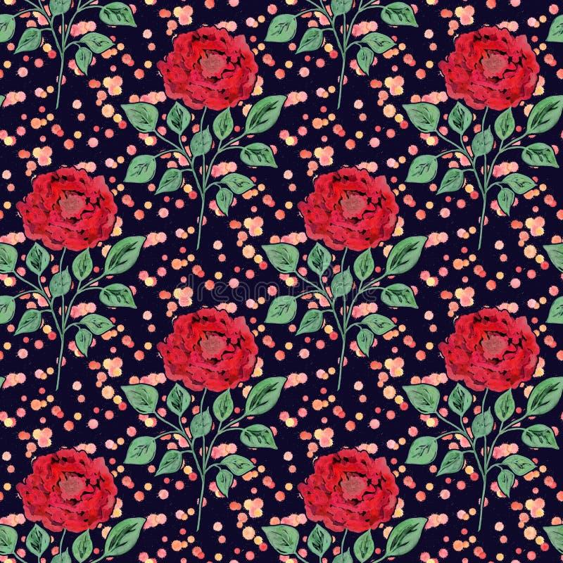 Sömlös färgrik blommamodell med vattenfärgeffekt stock illustrationer