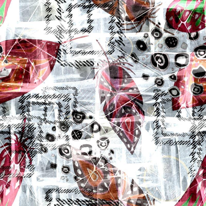 Sömlös färgrik bohomodell med vattenfärgeffekt stock illustrationer