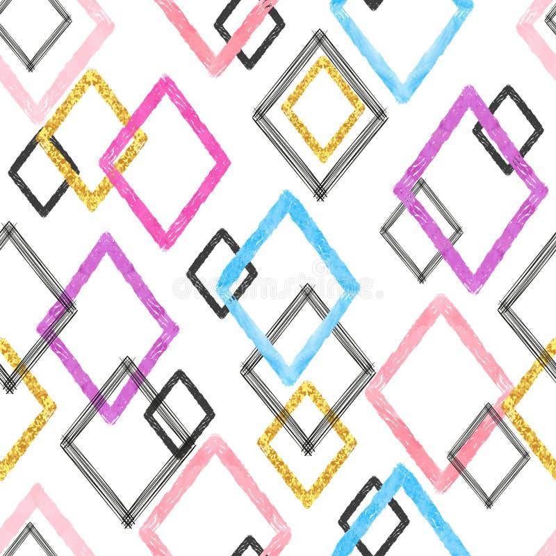 Sömlös färgrik borsteslaglängdmodell Geometrisk rombbakgrund vektor illustrationer