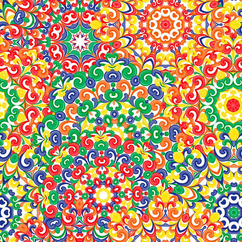 Sömlös färgrik etnisk modell med mandalas i orientalisk stil Runda doilies med rött, gör grön, gulnar, apelsinen, krullning stock illustrationer