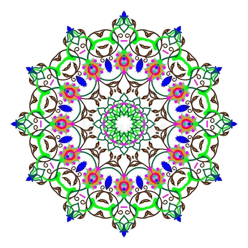 Sömlös färgrik modell med mandalaen Dekorativ beståndsdel för tappning royaltyfri illustrationer
