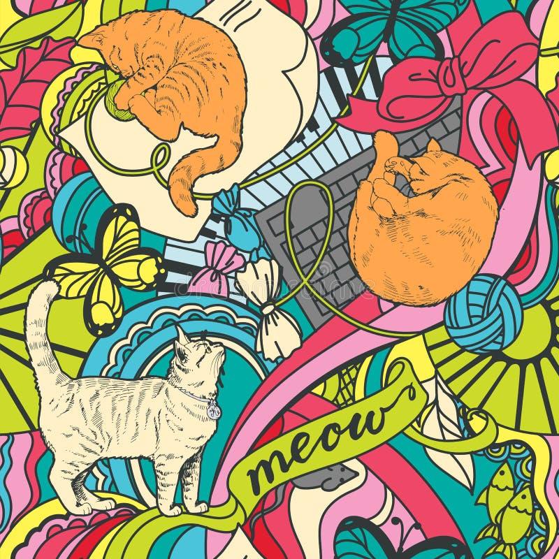 Sömlös färgrik modell med röda katter, leksaker, prydnader stock illustrationer