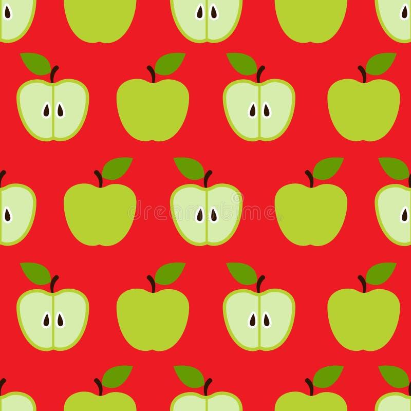 Sömlös färgrik retro äpplemodell royaltyfri illustrationer