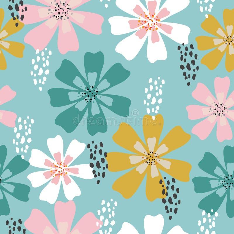 Sömlös färgrik tropisk blom- modellbakgrund royaltyfri bild