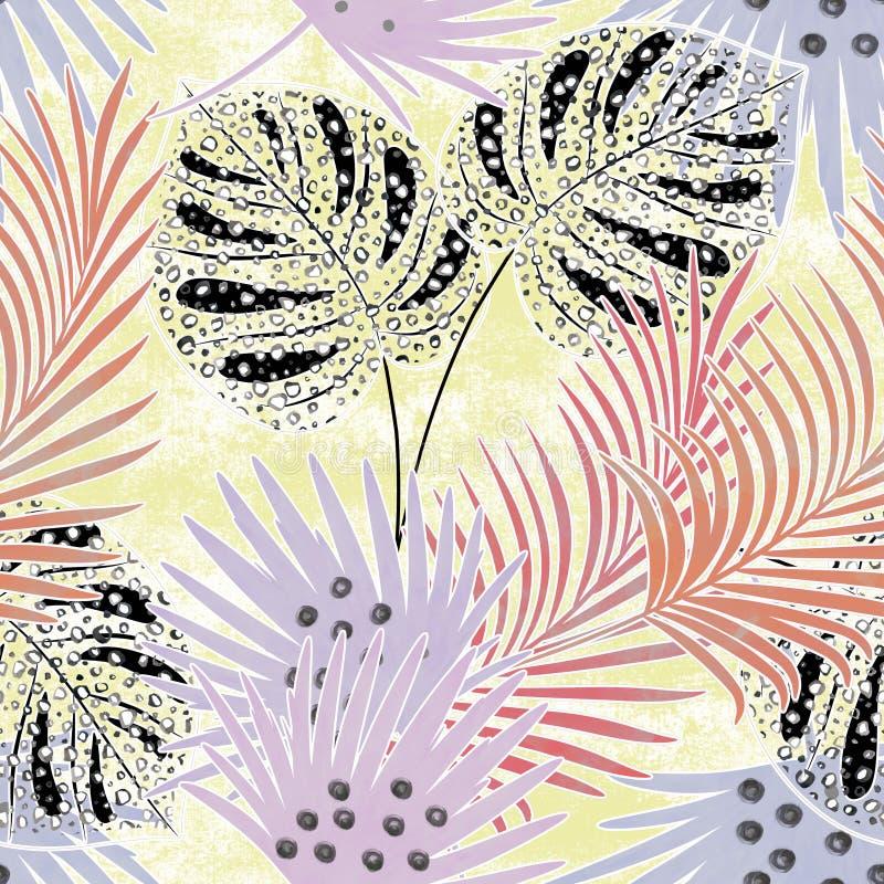 Sömlös färgrik tropisk modell med vattenfärgeffekt Stilfull modell för textiler royaltyfri illustrationer