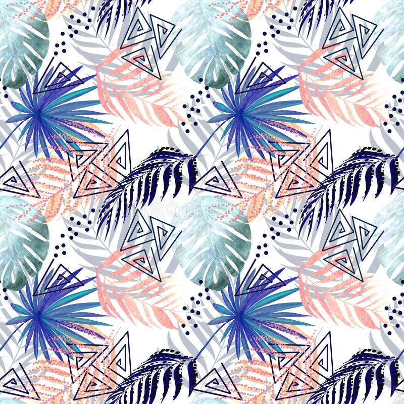 Sömlös färgrik tropisk modell Sidor av en gömma i handflatan, monstera på en vit bakgrund stock illustrationer