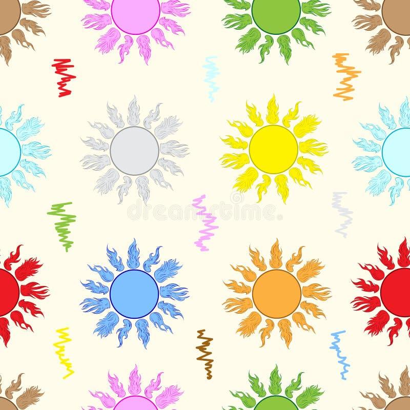 Sömlös färgsol vektor illustrationer