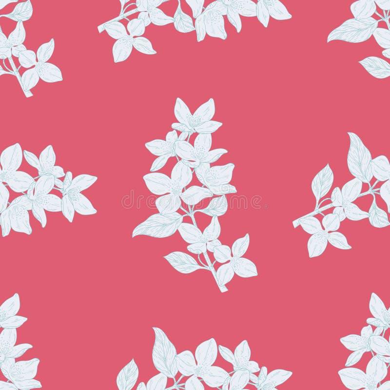 Sömlös färgtextilmodell Växten i blomningen, filial med blommafärgpulver skissar royaltyfri illustrationer
