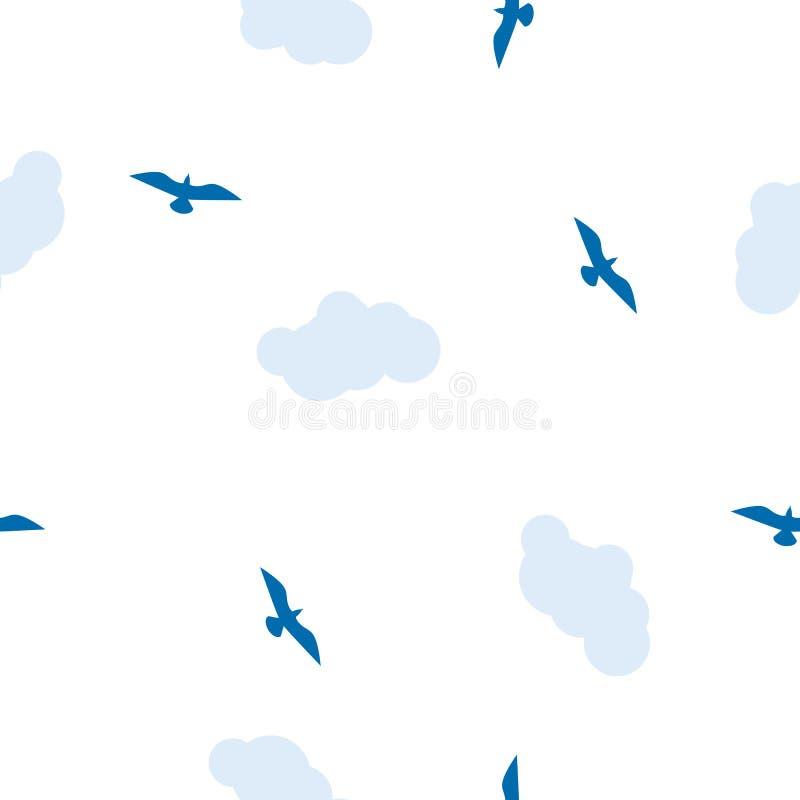 Sömlös fågelmodell, vit och blåttfärger royaltyfri illustrationer
