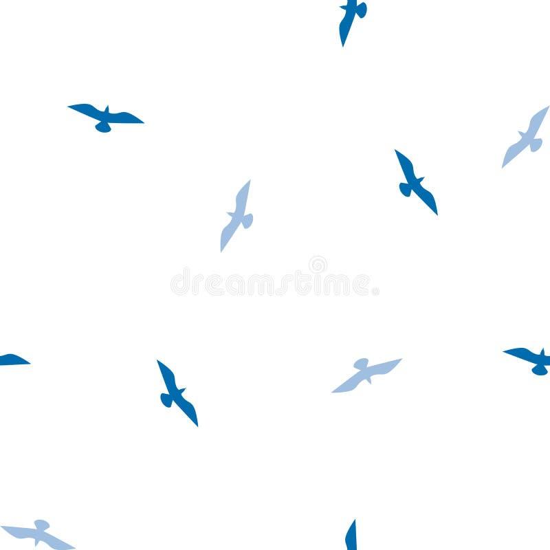 Sömlös fågelmodell, vit och blåttfärger vektor illustrationer