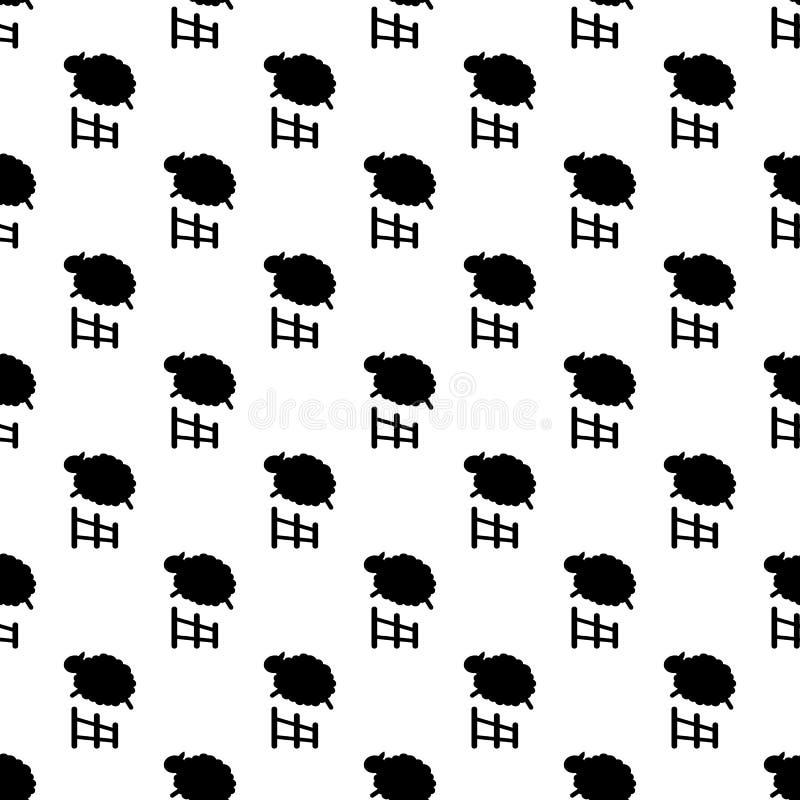 Sömlös fårbanhoppningmodell vektor illustrationer