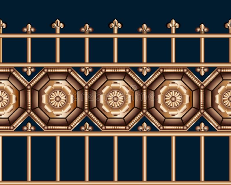 Sömlös förfalskat metallstaket för brons tappning på medeltida stil på blå bakgrund stock illustrationer