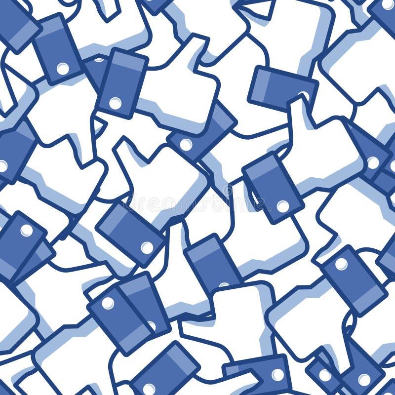 Sömlös Facebook tummebakgrund royaltyfri illustrationer