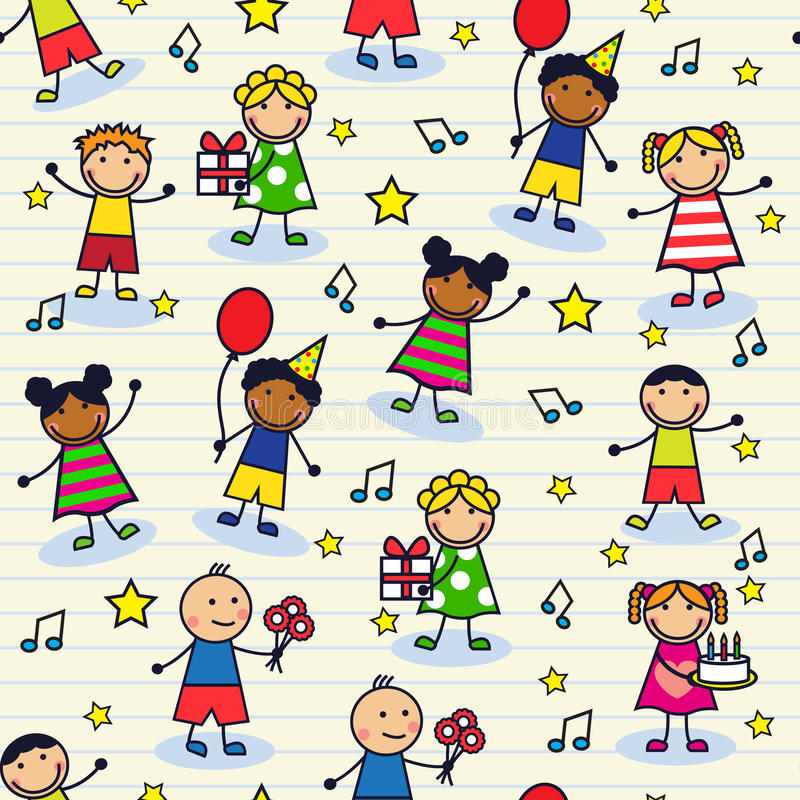 Sömlös festlig bakgrund med barn stock illustrationer