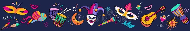 Sömlös festlig carnaval gräns för ljus färgrik vektor, ram Fastställda symboler, karnevalparti dekorerar Festivalbakgrund royaltyfri illustrationer