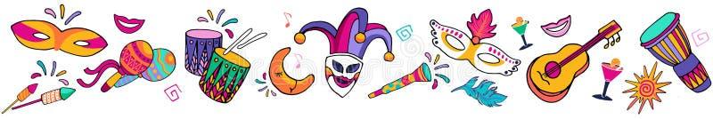 Sömlös festlig carnaval gräns för ljus färgrik vektor, ram Fastställda symboler, karnevalparti dekorerar Festivalbakgrund vektor illustrationer