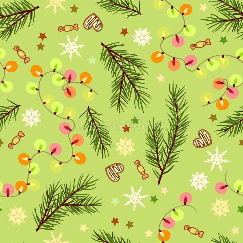 Sömlös festlig julmodell med filialer och girlander stock illustrationer