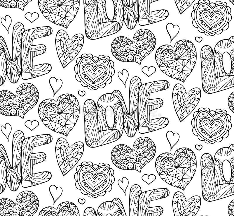Sömlös festlig textur med klotterhjärtor och förälskelse vektor illustrationer