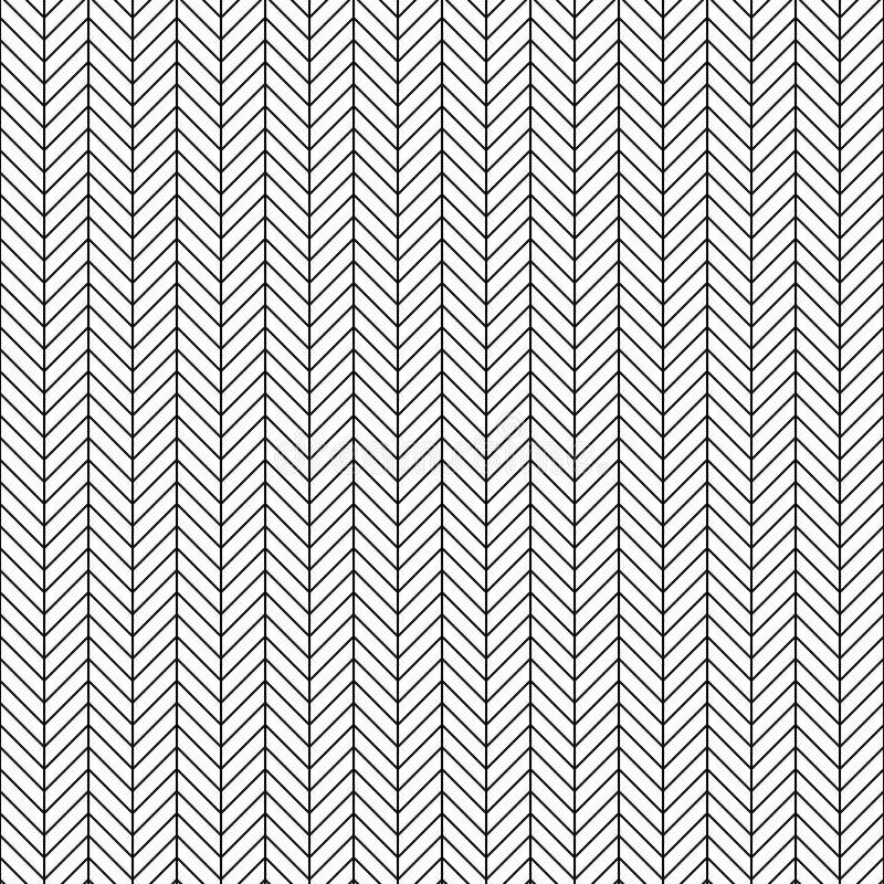 Sömlös fiskbensmönstermodell för vektor Geometrisk linje textur Svartvit bakgrund Monokrom design vektor illustrationer
