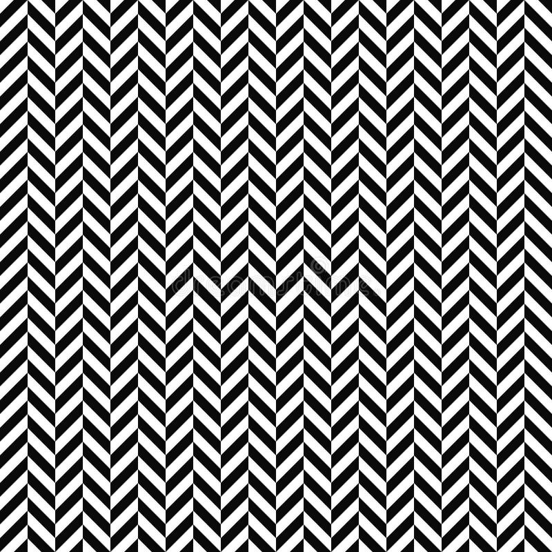 Sömlös fiskbensmönstermodell för vektor geometrisk textur Svartvit bakgrund Monokrom design royaltyfri illustrationer
