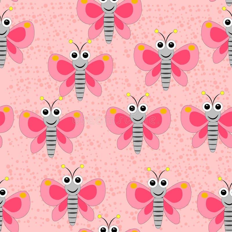 Sömlös fjärilsmodell på den rosa prickiga bakgrunden royaltyfri illustrationer