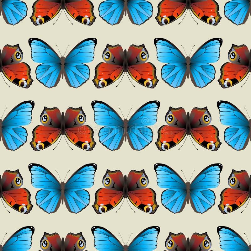 Sömlös fjärilsprydnad royaltyfri illustrationer