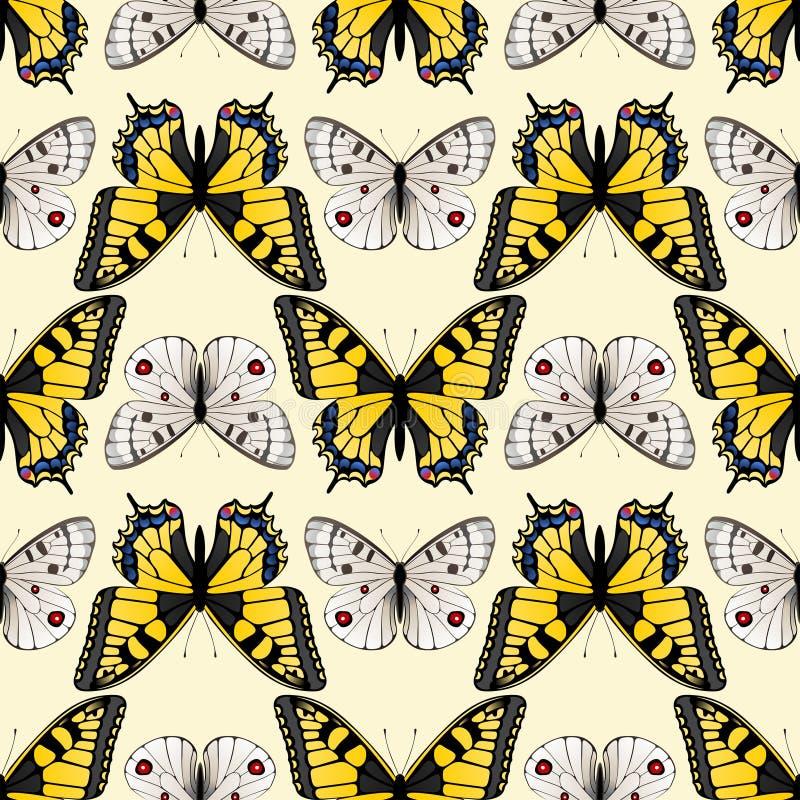 Sömlös fjärilsprydnad vektor illustrationer
