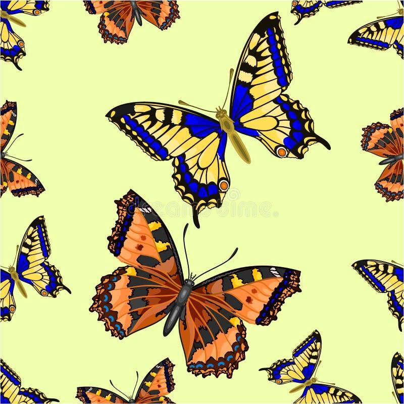 Sömlös fjärilsvektor för textur två stock illustrationer
